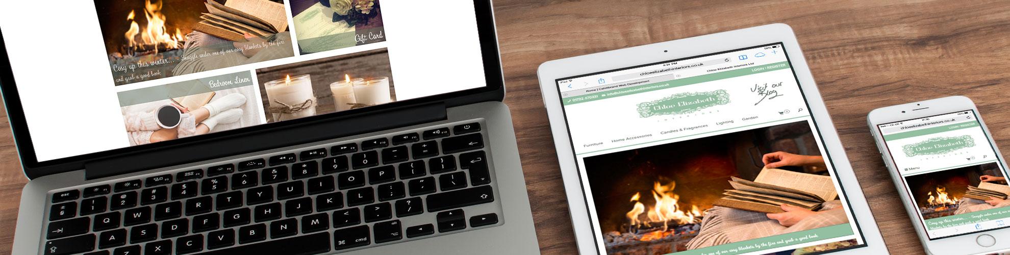 Chloe Elizabeth Interiors on MacBook, iPad and iPhone. Responsive as Standard.